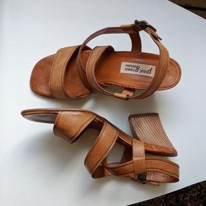 Paul Green Wood Block Leather Sandal